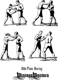 Olde Time Boxers In Classic Boxing Stances Punching