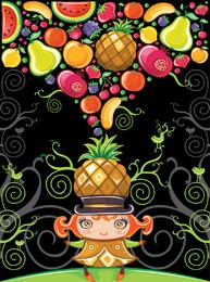 Vector lindo colorido de las frutas