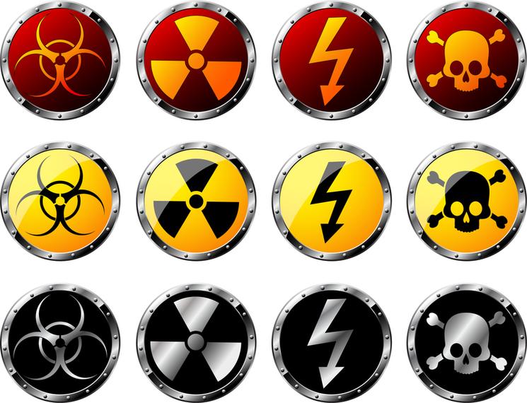 Nuclear Radiation Hazard Warning Signs Vector