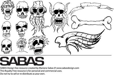 Diferentes tipos de cráneos vectoriales gratis