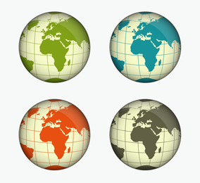 Green Blue Yellow And Gray Globe Vector Illustration
