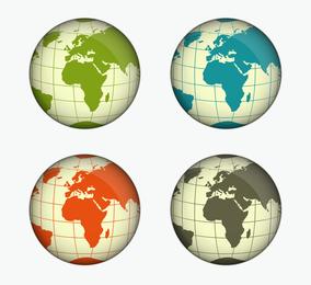 Ilustração em vetor verde azul amarelo e cinza globo