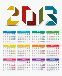 Calendário do vetor de 2013 anos