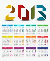Vektorkalender für 2013 Jahre