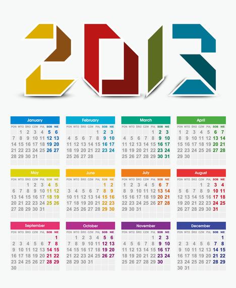 2013 Year Vector Calendar