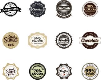 Emblemas do vetor de chocolate