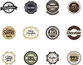 Insignias de chocolate vector