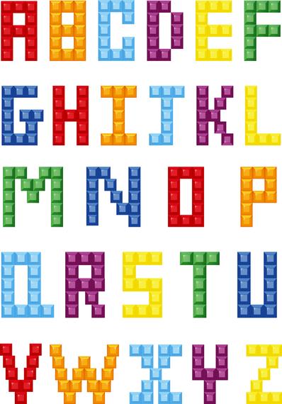 Colorful Crystal Block Alphabet