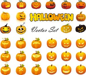 Calabazas de Halloween Mega Vector Mixta Colección