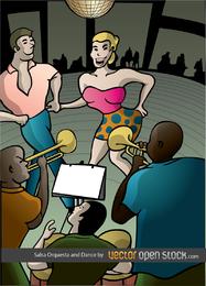 Salsa de orquesta y cartel de danza.
