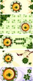 Copa de vector con hojas de menta transparente