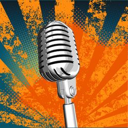 Vetor De Microfone Metálico De Prata