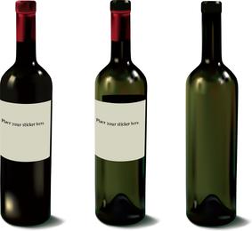 Varias botellas de vino y vasos de vectores