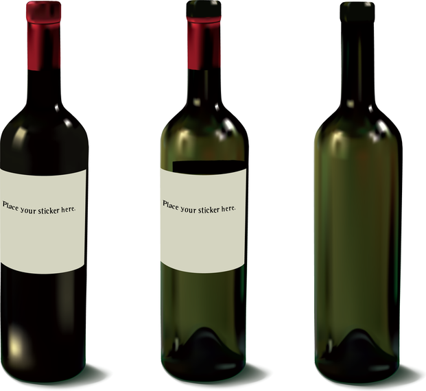 Several Wine Bottles And Glasses Vector