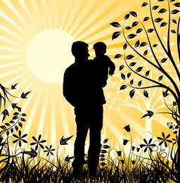 Família Feliz Pai E Filho Elemento Vector