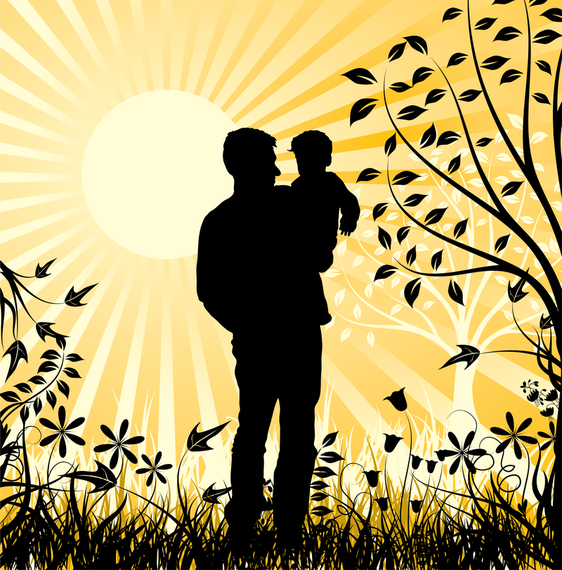 Happy Family Father And Son Element Vector