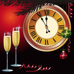 Champanhe e outros elementos do relógio de borboleta de vetor