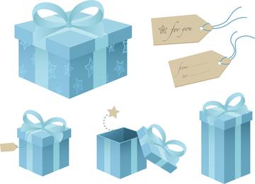 Blue Gift Box Theme Vector