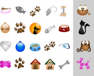Gatos y perros tema vectorial
