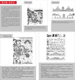 Mapa de objetos y símbolos budistas tibetanos del vector de Zhuanlun Wang cuatro