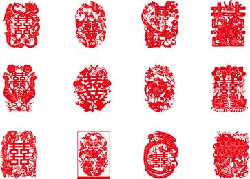 China tradicional rojo Hola palabras Vector