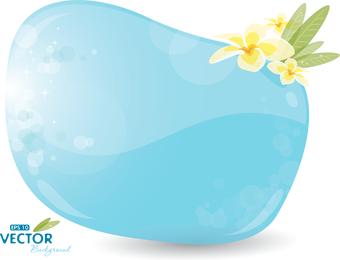 Burbuja azul claro con flores.