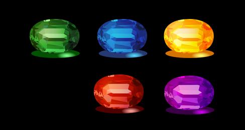 Esmeraldas y otras piedras preciosas Vector Original