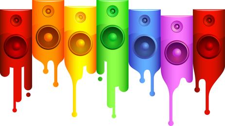 Rainbow speakers dripping