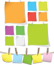 Papeles de colores en blanco con clip Vector gráfico