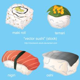 Set de piezas de sushi.