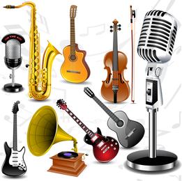 Vetor de instrumentos musicais bem