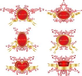 Romantic Ribbon Vector Shield Badge