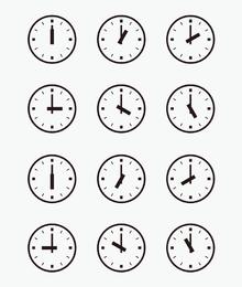 Conjunto de relógios de parede com outros tempos