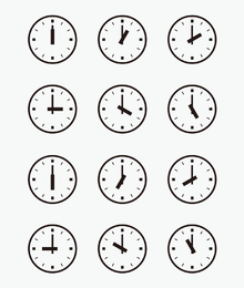 Set Of Wall Clocks With Another Times