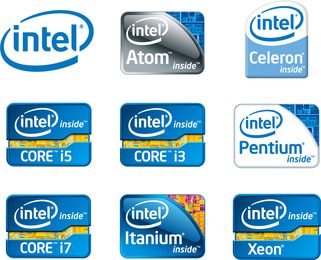 Intel Chip Logos Vector