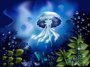 Magnífico mundo submarino 04 Vector