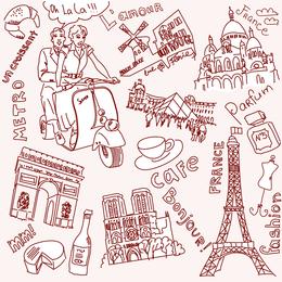 Desenho de linha do vetor de Paris e Londres