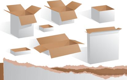 Conjunto de cajas de cartón abierto.