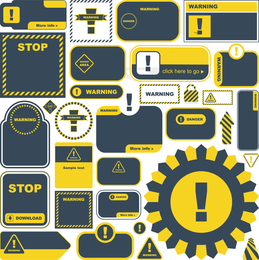 Señales de advertencia amarillas y etiquetas 03 Vector