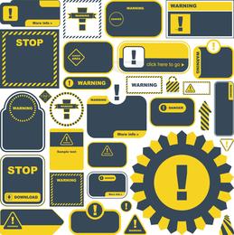 Sinais de alerta e etiquetas amarelas 03 Vector