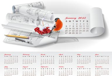 Kreativer Kalender-Entwurfs-Vektor 2013