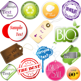 Kit of varied labels and stickers