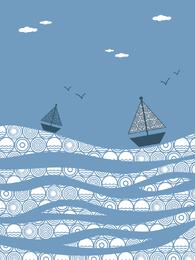 El barco de mar pintura decorativa vector