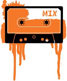 Cassete de vetor com design splatter