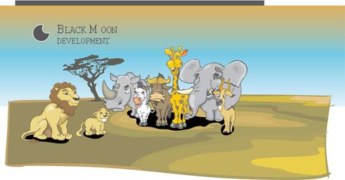 Vector conjunto de animales africanos