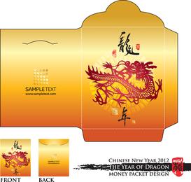 Año de la plantilla de sobre rojo de dragón 02 Vector