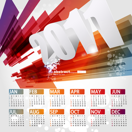 Hermosa plantilla de calendario 2011 Vector 3