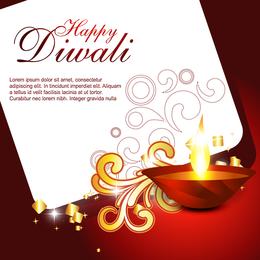 Tarjetas hermosas Diwali 06 Vector