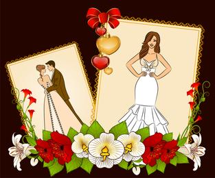 Wedding Postcards 05 Vector