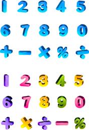 Precioso color tridimensional letras y números vectoriales